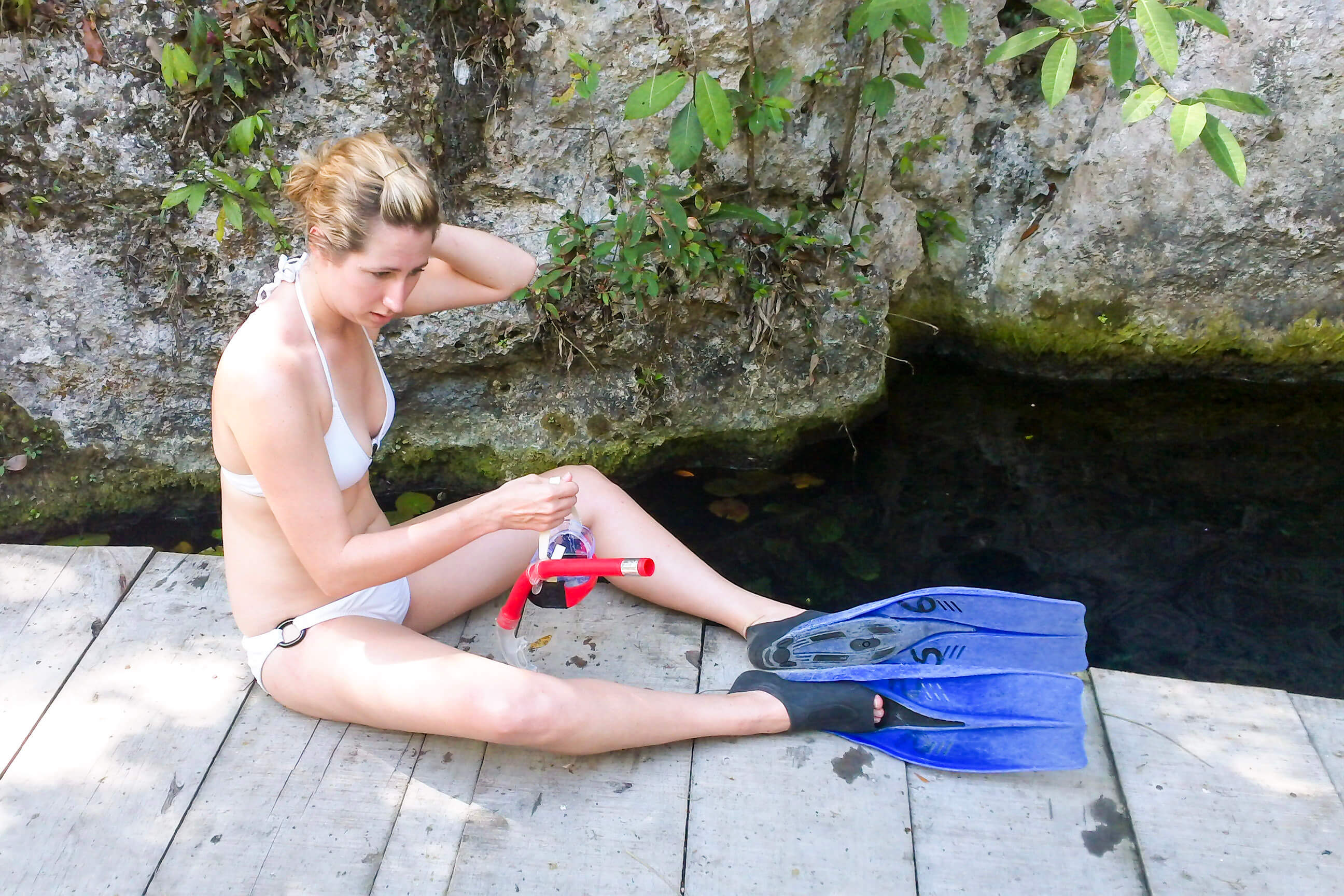Kristin Getting Ready to Snorkel