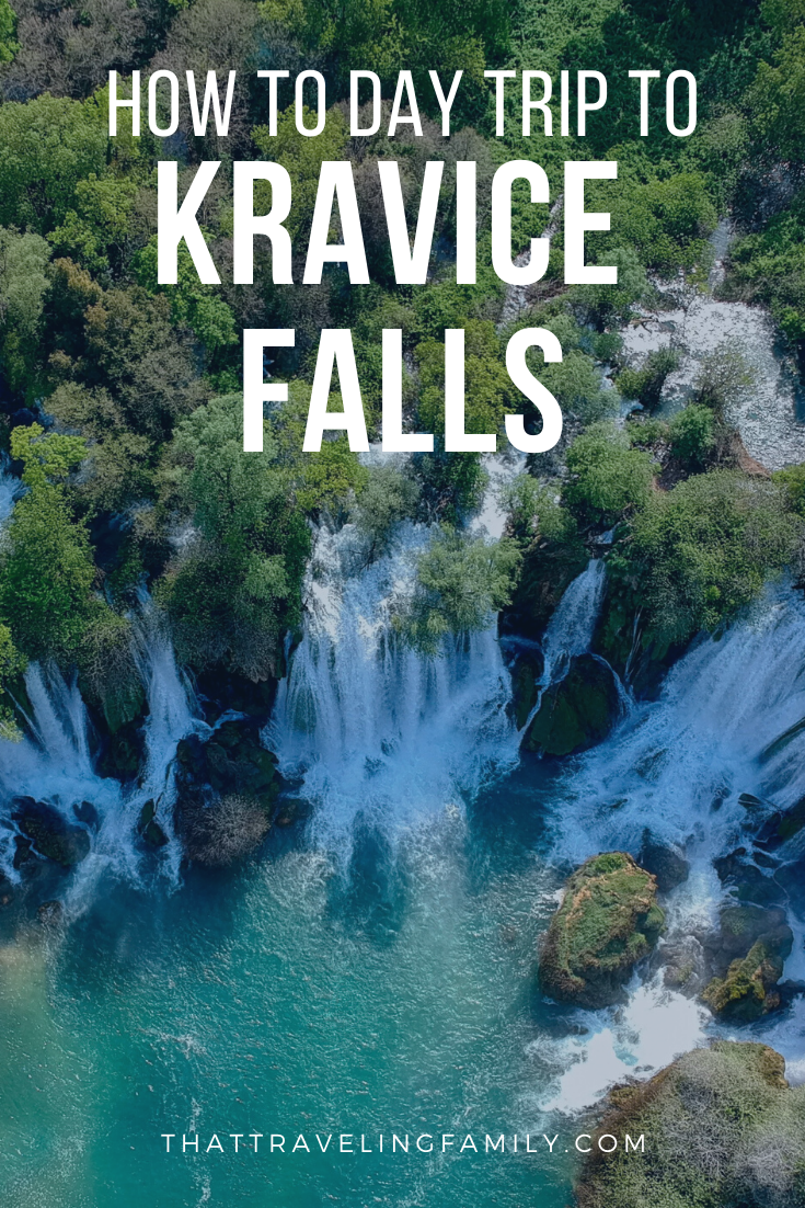 Aerial view of Kravice Falls with text overlay: How to day trip to Kravice Falls