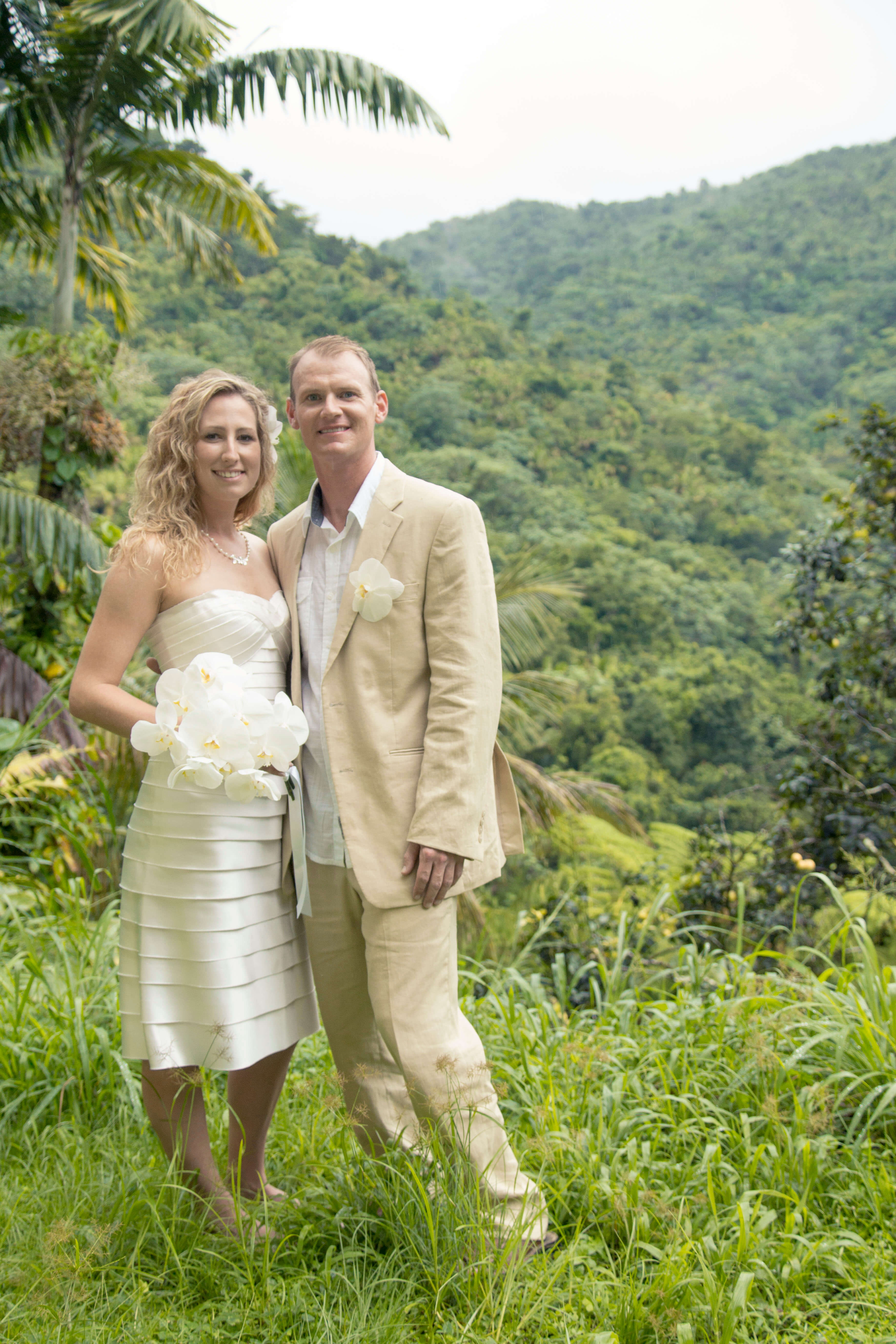 Kristin and Andrew at their wedding in El Yunque Rainforest, Puerto Rico