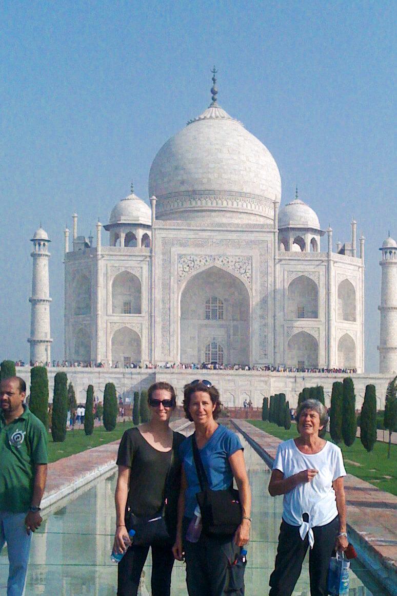 Kristin and her mom at the Taj Mahal