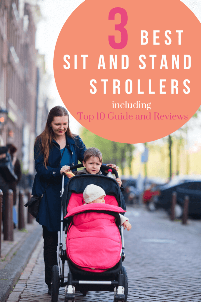 woman and children using sit and stand stroller on city street with text overlay 3 Best sit and stand strollers including top 10 guide and reviews