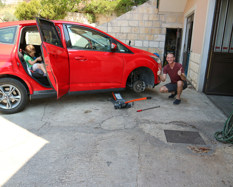 Flat Tire in Brela, Croatia