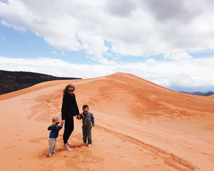Kristin and Boys at Coral Pink Sand Dunes State Park