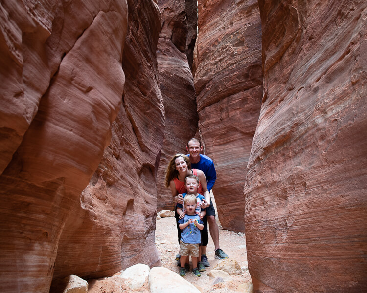 Young Family in Wire Pass near Kanab Utah