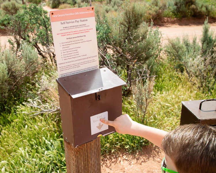 Wire Pass Fee Drop Box at Trailhead
