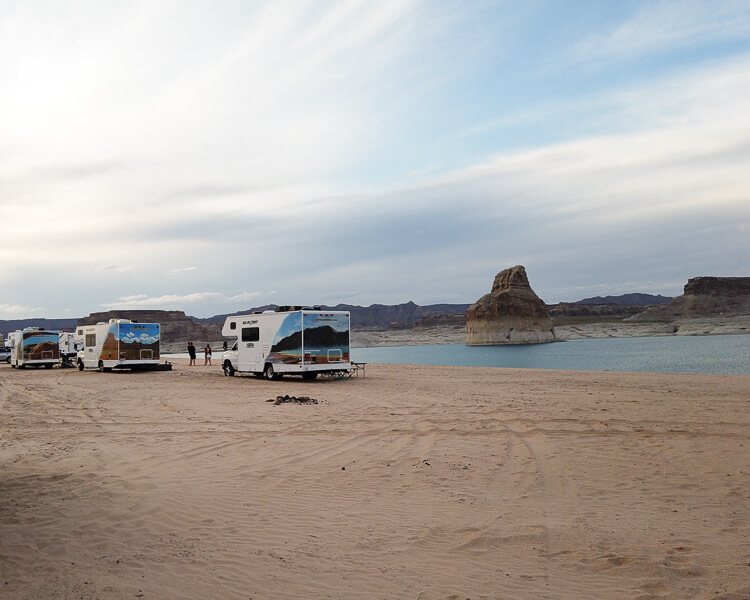 Campers at Lone Rock Beach on Lake Powell