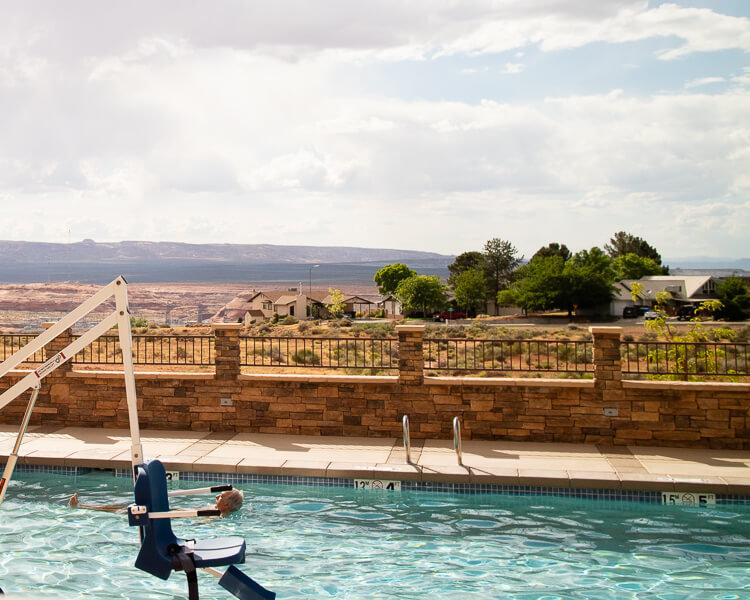 Hyatt Place Page at Lake Powell pool overlooking Glen Canyon